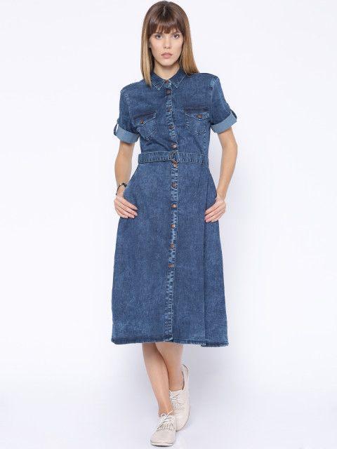 3cf050b6743 Buy Tokyo Talkies Blue Denim Shirt Style Midi Dress - Dresses for Women