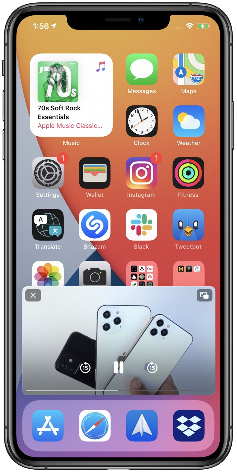 Howto Featured Howto Ios 14 How To Use Picture In Picture Mode On Iphone In 2020 Apple Three App Homescreen