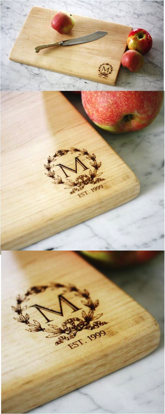 Wood Wedding Gift Ideas: Personalized Cutting Board Made From Solid Maple Wood