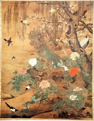 hundreds if birds admiring the peacocks. Hong. Hanging scroll with ink and color on silk. Ming Dynasty.