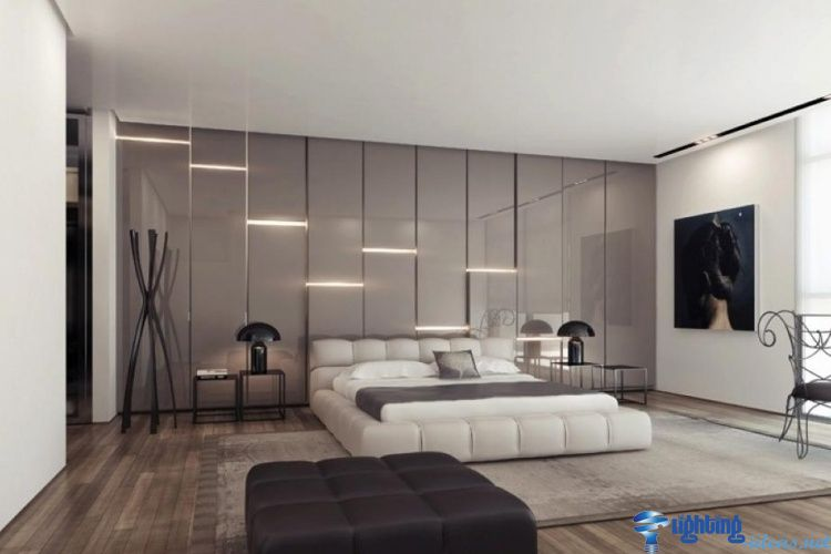 Led Wall Lights Gray Glossy Wall Panels With Led Strip