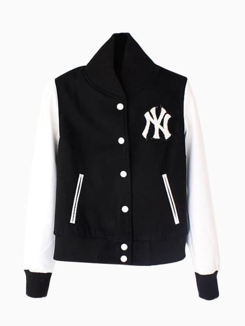 Black Baseball Jacket With PU Sleeve | Jackets, Varsity