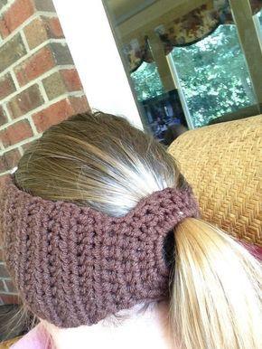 Football Ponytail Headband/Ear Warmer #crochetedheadbands
