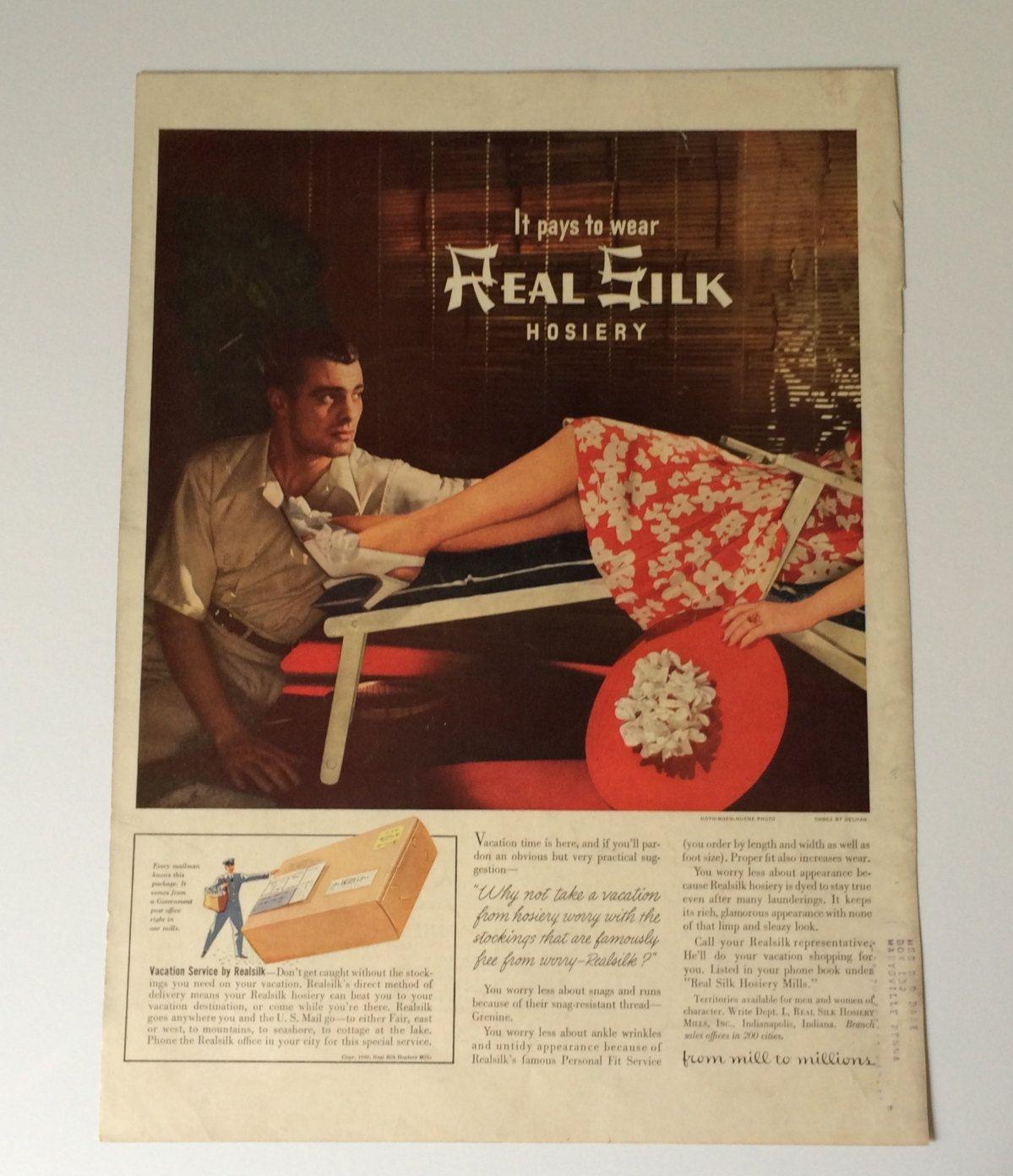 1940s Real Silk Hosiery Ad Vintage Wall Art on Reverse Side is Hiram Walker…