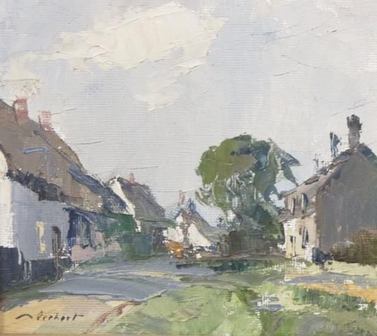 Stanley Orchart (British, 1920-2005)- Haystack in Norfolk, watercolour, 35 x 46cm;and a Village Street, oil on board, 16 x 17cm (2)  - Cheffins