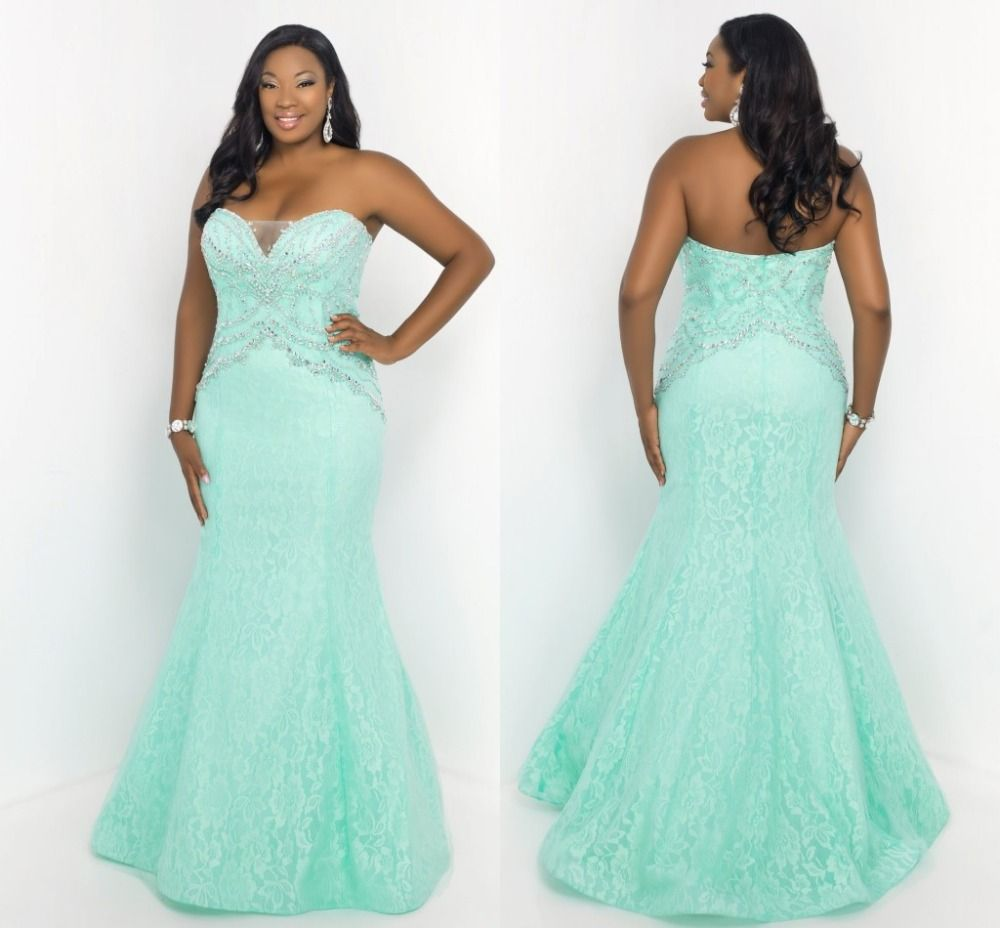 Aliexpress.com : Buy Mermaid Lace Plus Size Prom Dresses With ...