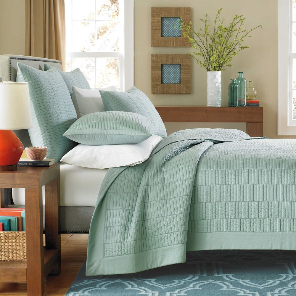 Real Simple Dune King Size Coverlet Quilt Sea Glass Modern Blue Green  #RealSimple #