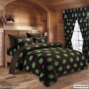 Photo of Details about POT MARIJUANA LEAF HERB WEED 420 BED SHEETS SET WITH COMFORTER & SHEET SET