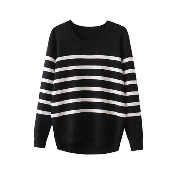 6e8c3050b4 Stripe Pattern Long Sleeve Black Sweater (48 CAD) ❤ liked on Polyvore  featuring tops
