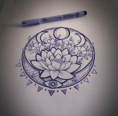 Lotus and moon phase tattoo
