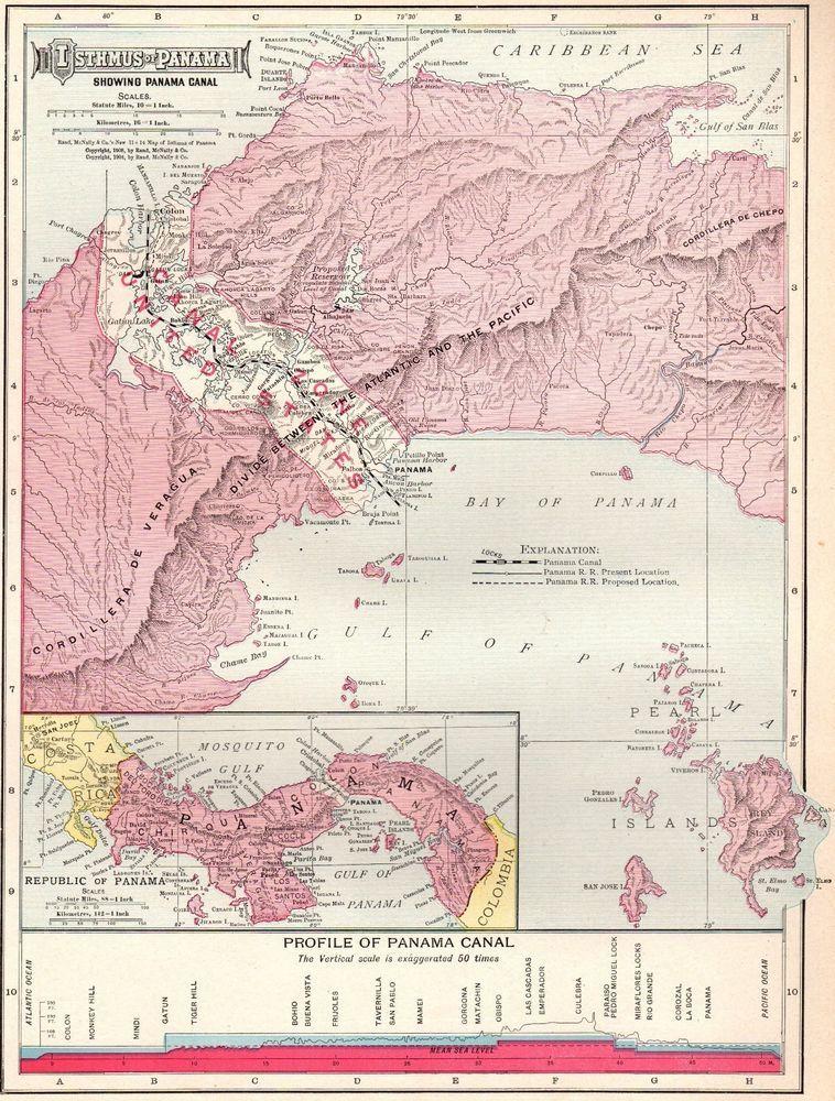 1911 Antique PANAMA CANAL Map Vintage Isthmus Of Panama Map Original ...