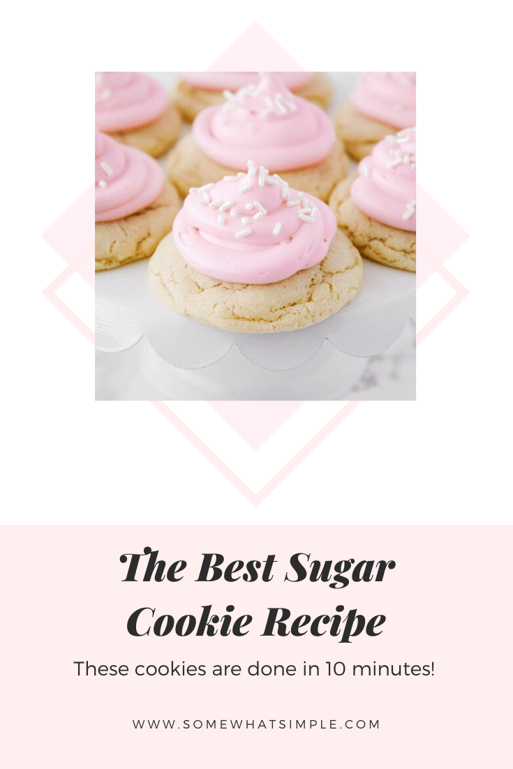 These easysugar cookies are a favorite in our home! A no-chill recipe made with simple ingredients that comes together quickly! They're so easy, they only take 10 minutes from start to finish. #sugarcookiesfrosting #easysugarcookierecipe #10minutesugarcookies #bestsugarcookierecipe #nochillsugarcookies via @somewhatsimple