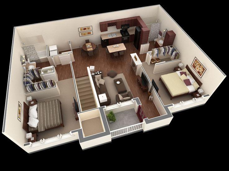 Image Result For Floor Plan 2 Bedroom Apartment Over Garage Building Plans House Apartment Floor Plans Bedroom House Plans