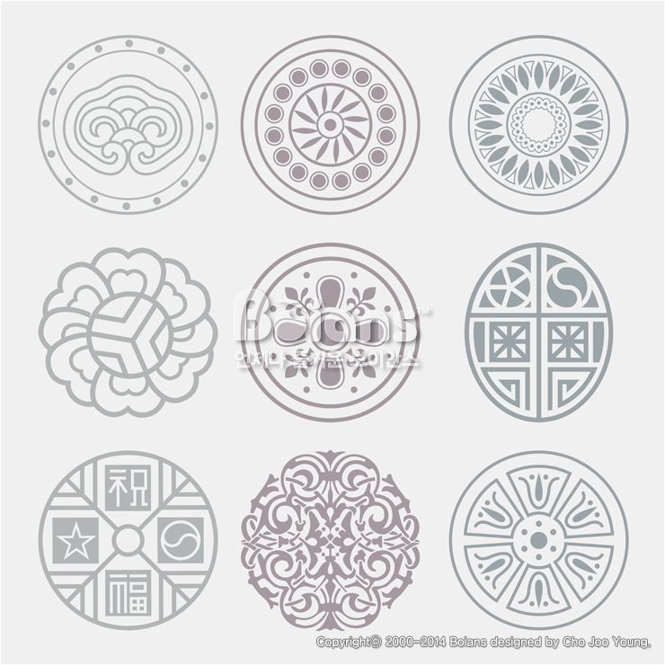 둥근 격자 무늬문양 세트. 기하학 패턴, 한국 전통문양 패턴