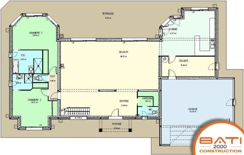 Plan maison traditionnelle étage de 311m² - 4 chambres Coup de - plan maison une chambre