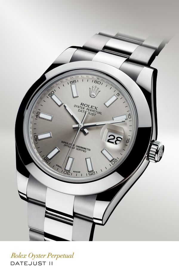 Rolex Datejust II 41 mm in 904L steel with a smooth bezel, silver dial and Oyster bracelet.