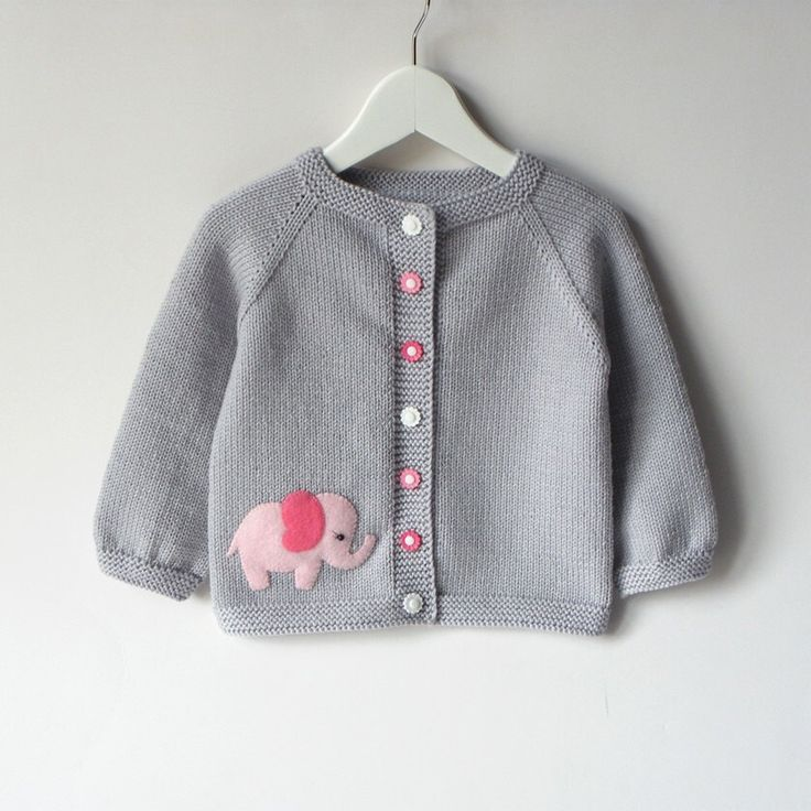 Pink elephant sweater silver grey baby girl jacket merino wool ...