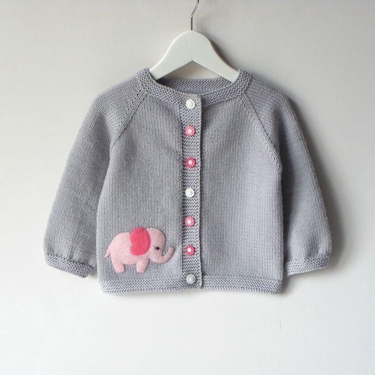 Pink elephant sweater silver grey baby girl jacket merino wool ...