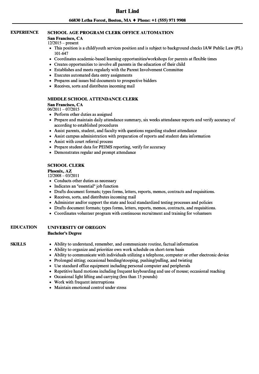 Office Clerk Resume Sample Luxury School Clerk Resume Samples Of