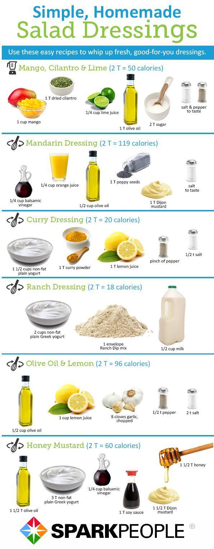 Healthy Homemade Salad Dressings: click for nutrition facts | via @SparkPeople #food #recipe #DIY - Dinner Menu Images For Websites
