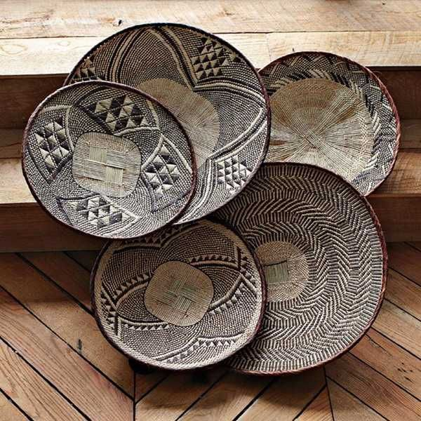 10 creative ideas for accent wall design with ethnic wicker dishes d co pinterest panier. Black Bedroom Furniture Sets. Home Design Ideas