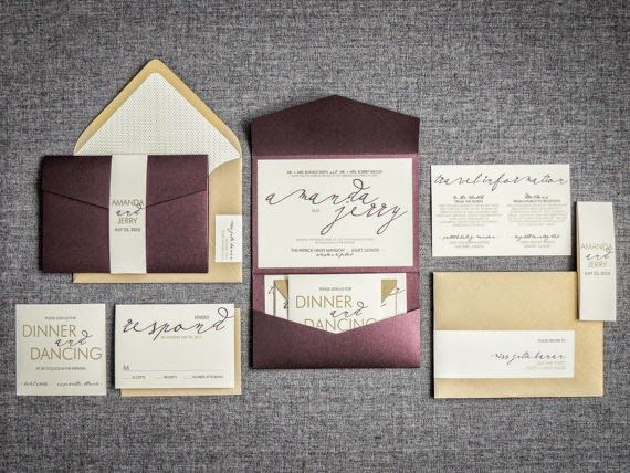 Gold And Honey Wedding Invitations Modern