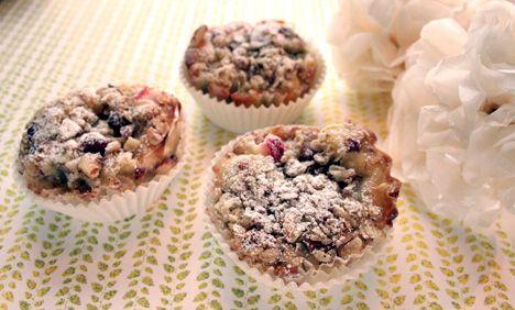Fantastisk gode muffins! Jeg pleier å bruke epler istedenfor rabarbra, funker kjempebra!