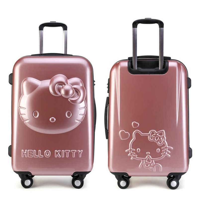 07ef997c5ba Girls Hello Kitty Trolley Suitcase 3D Cartoon Trolley Luggage Bag Women  Hard Shell Luggage 24
