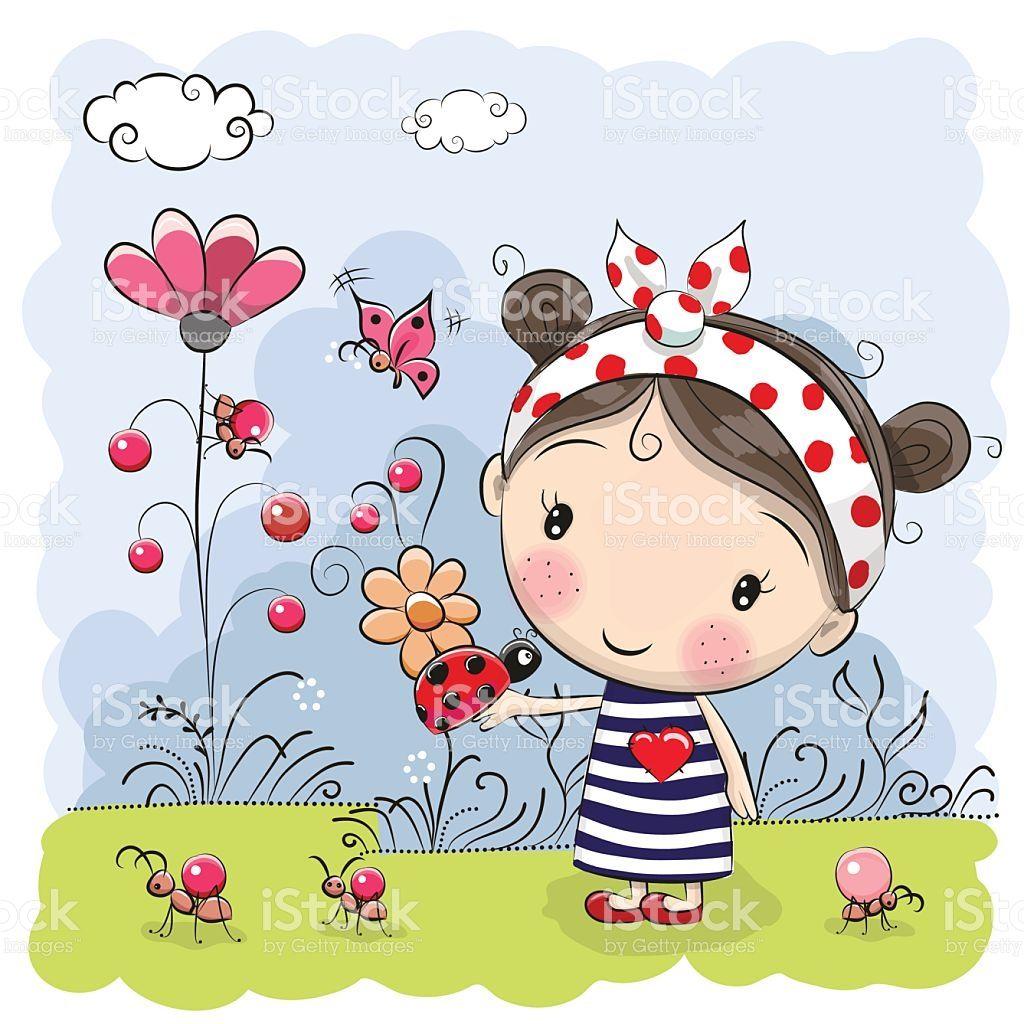 Cute Cartoon Girl with ladybug on a meadow | Pinterest | Zeichnen ...