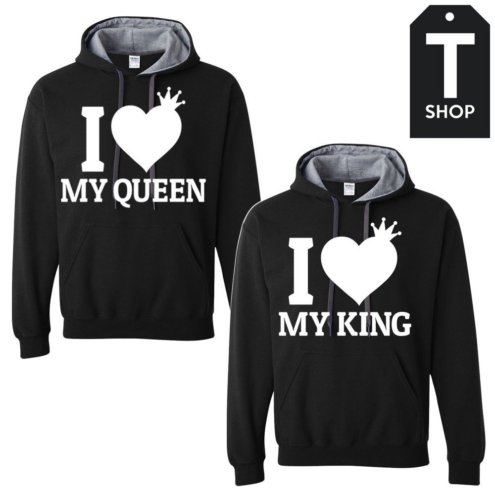 d5b64ada5209 I love my King and Queen Couple Hoodies Family Outfits