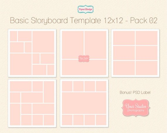 Instant Download 12X12 Storyboard Template Digital By Popuridesign