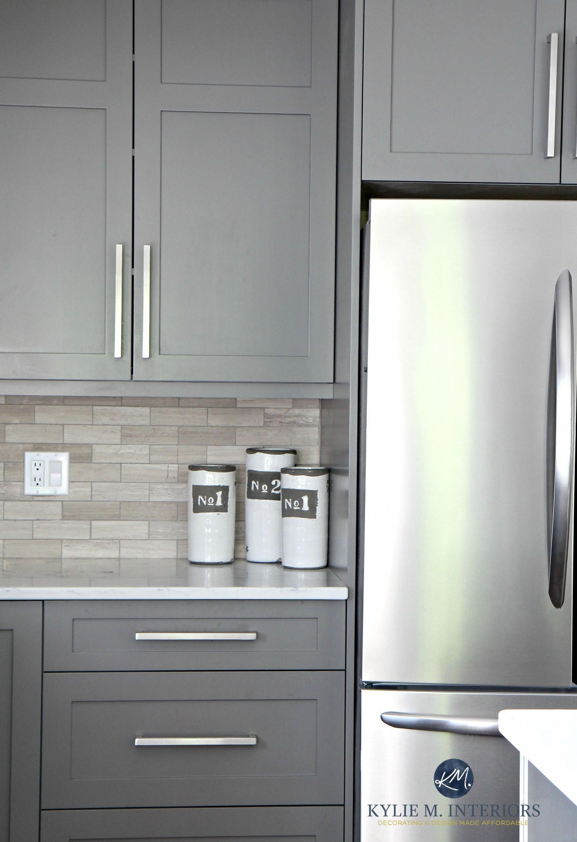 Benjamin moore amherst gray painted cabinets driftwood backspash in