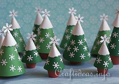 pap naptár Paper Crafts karácsonyra   Advents Naptár Clay Pot Trees  pap naptár