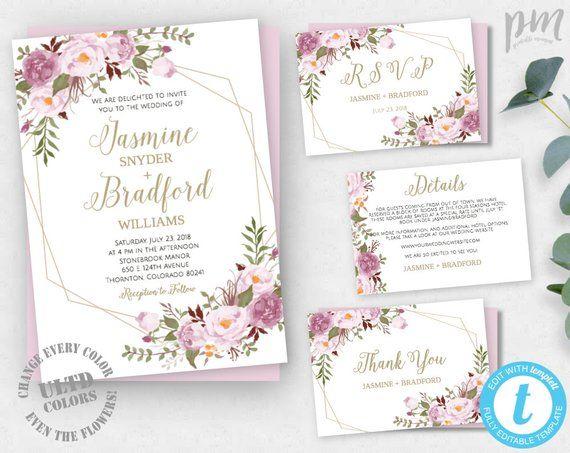 Fl Geometric Wedding Invitation Template Printable Diy