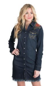 179079280f Wrangler with Rodeo Quincy Women s Dark Wash Denim with Floral Embroidery  Long Sleeve Western Snap Dress