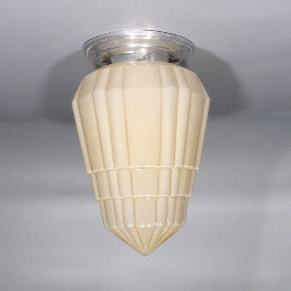 Vintage French Art Deco Skyscraper Ceiling Fixture, Chandelier Glass Globe Shade #ArtDeco