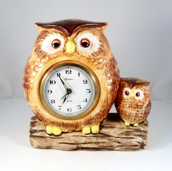 Vintage Mother and Child Owl Clock