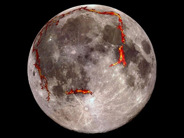 Ancient magma plumbing found buried below moon's largest dark spot By Eric Hand 10/1/14 Buried rift features, detected through gravity mapping, are seen superimposed on a full moon.