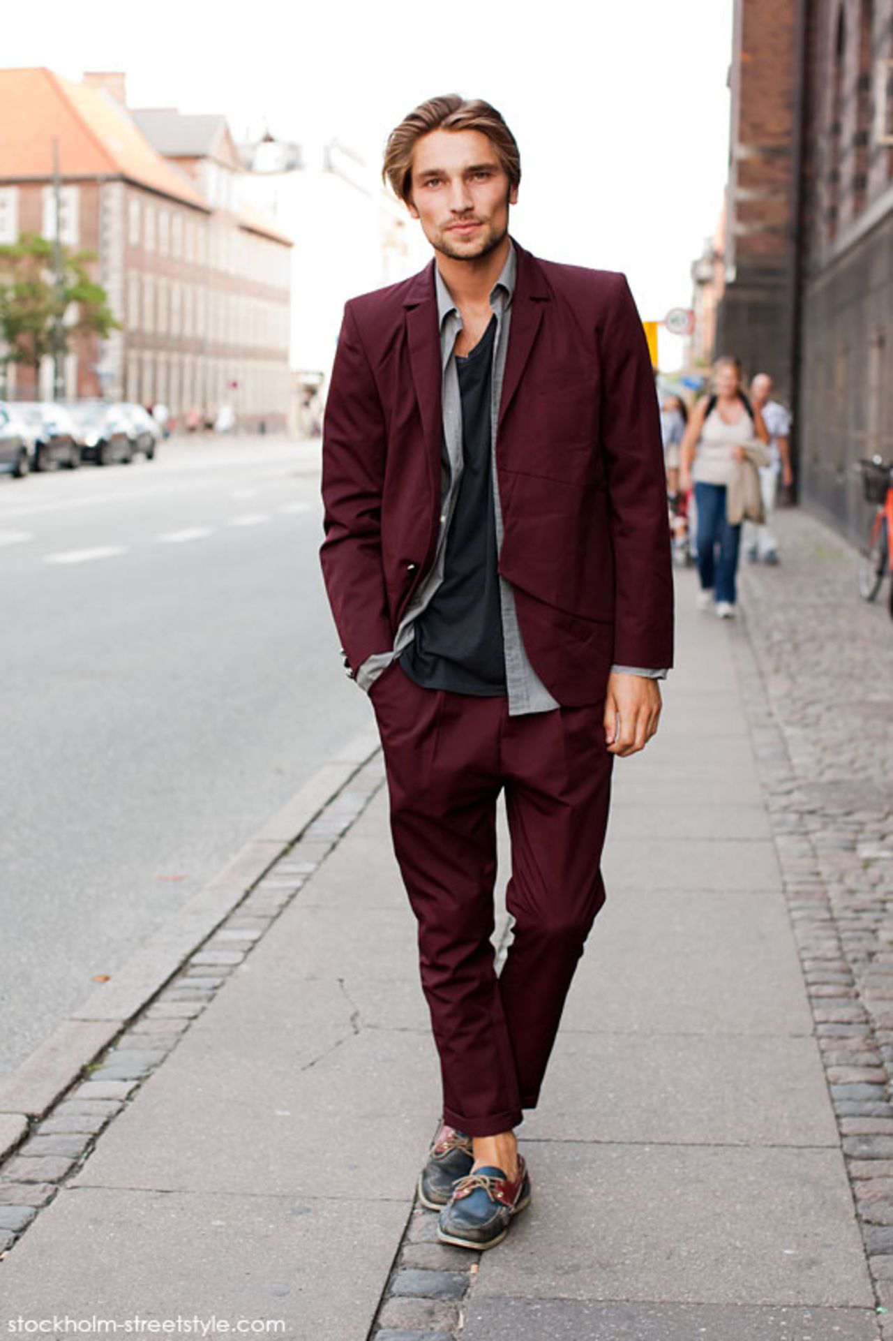 Black t shirt with suit - Men S Burgundy Blazer Grey Long Sleeve Shirt Black Crew Neck T Shirt Burgundy Chinos