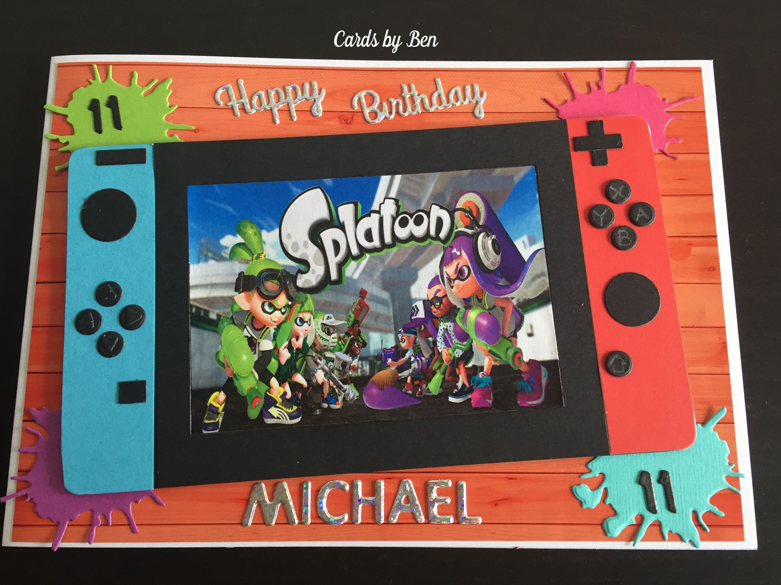 Nintendo switch birthday card Handmade birthday cards