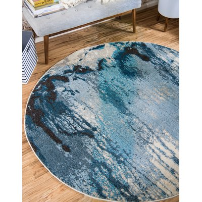 Hashtag Home Andrei Abstract Light Blue Area Rug Round Rugs