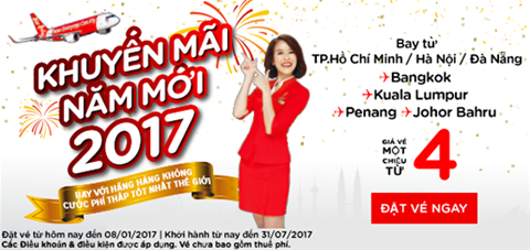 Khuyến mại năm mới 2017 Hàng không, Bangkok, Singapore