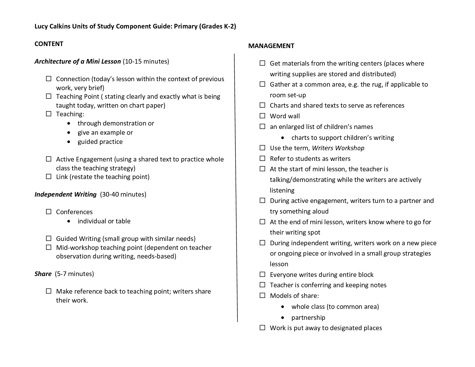 Lucy Calkins Lesson Plan Template