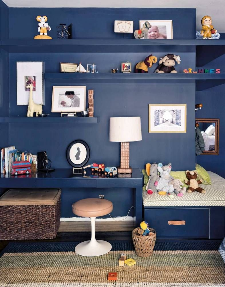 we love a deep blue in a childs room adds so much depth and a - Metallic Kids Room Interior