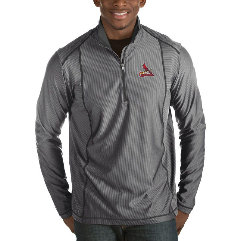 St. Louis Cardinals Antigua Tempo Half-Zip Pullover Jacket - Heathered  Charcoal 940cf0f94