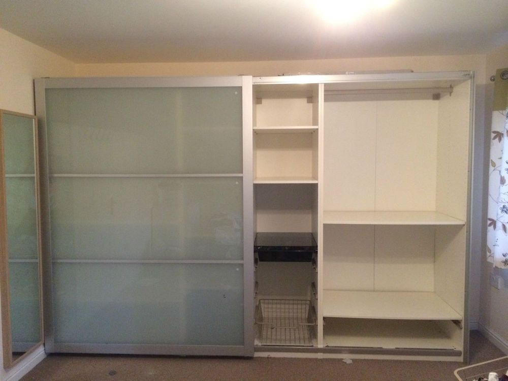 Ikea pax wardrobe h201xw300xd58 lyngdal sliding glass for 1 door wardrobe with shelves