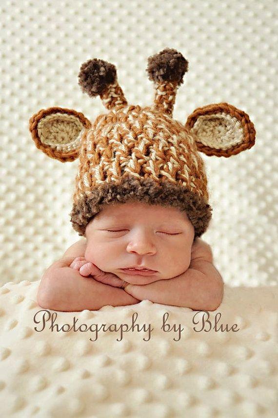 Crochet Baby Photo Props Newborn Baby Crochet Giraffe Hat Photo Prop On Wanelo Baby Hat Patterns Crochet Baby Crochet Baby Hats