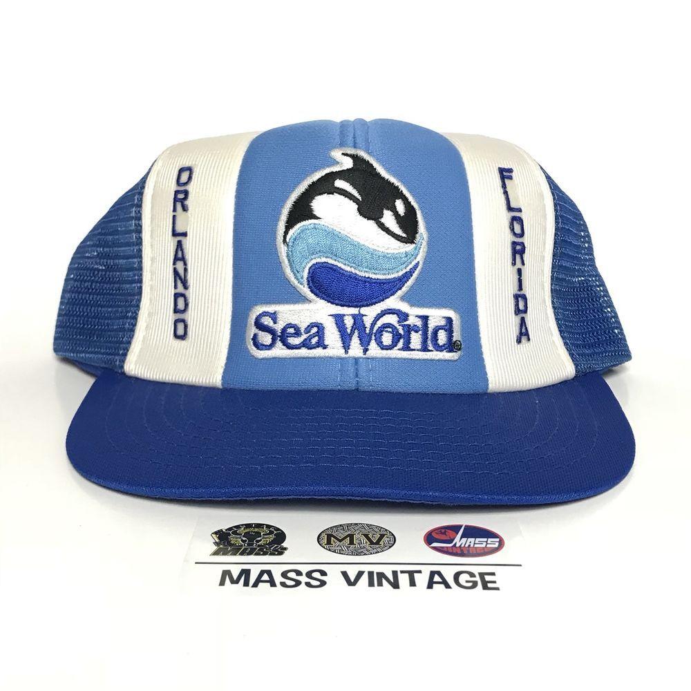 VINTAGE Seaworld Orlando Hat Snapback Cap Disney World