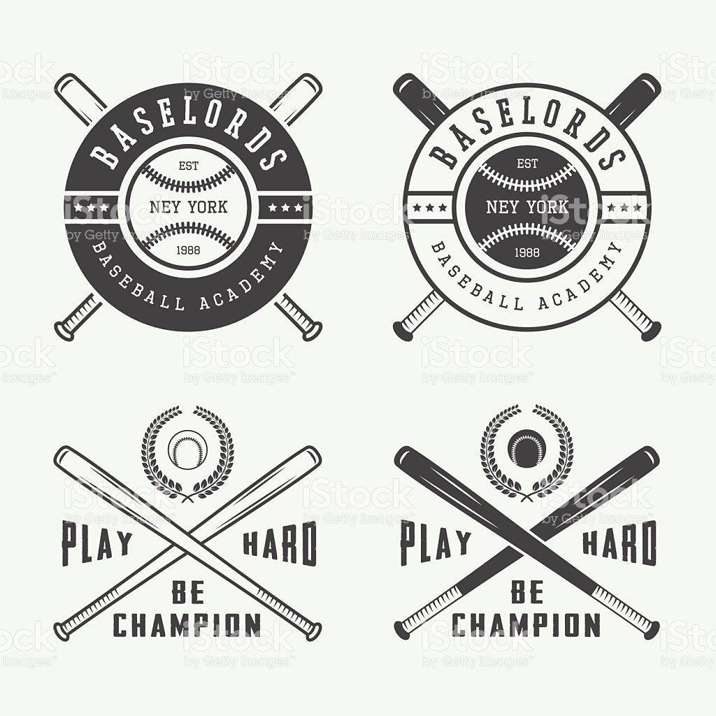 Vintage Baseball Logos Emblems Badges And Design Elements Vector Vintage Graphic Design Baseball Shirt Designs Design Elements