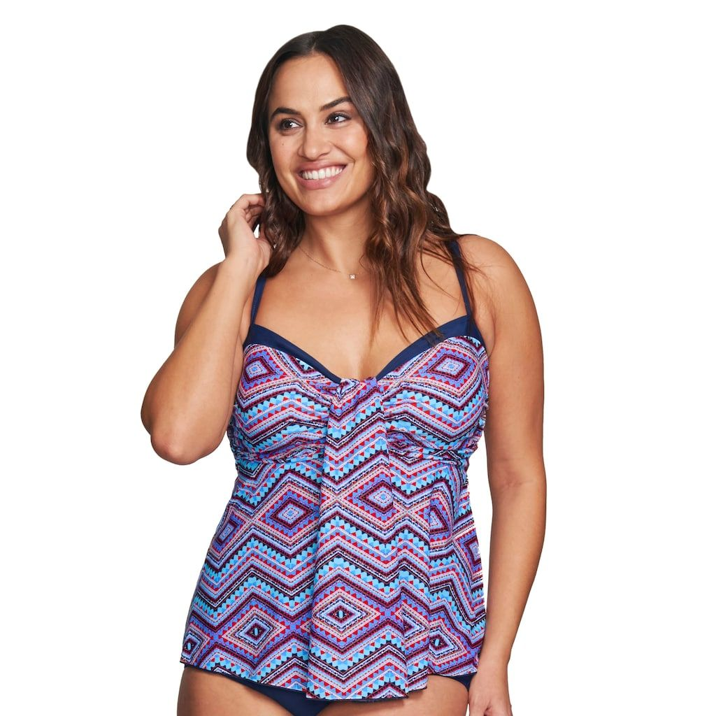 f8104bc33706d Plus Size Mazu Swim D-Cup Empire Draped Tankini Top, Women's, Size: 24 W,  Red